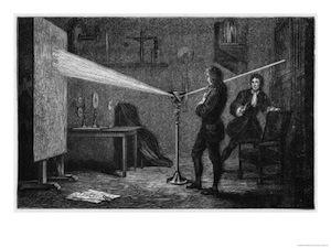 Newton splits light into its component colors