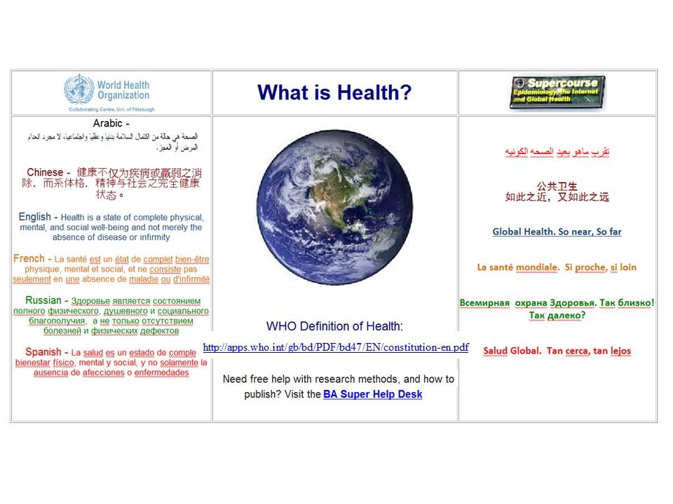 Explain the term health