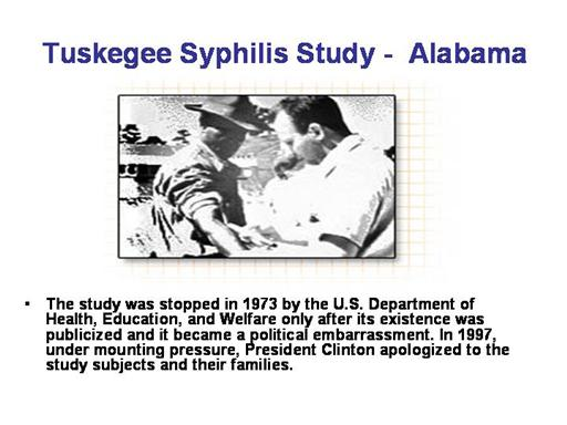 Tuskegee study of syphilis